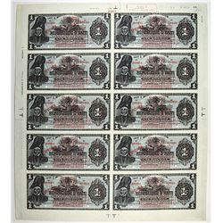 Banque De La Republique D'Haiti, 1919 Provisional Issue Uncut Sheet of 10 Notes