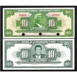 Banque Nationale de la Republique d'Haiti, 1980s, Specimen & Proof Pair