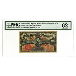 Aguan Navigation & Improv. Co., 1886, Issued Banknote