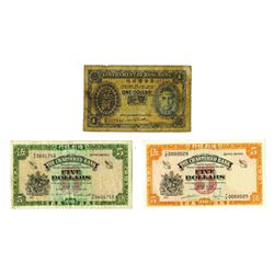 Government and Chartered Bank Issues, 1936-1967, Trio of Issued Notes