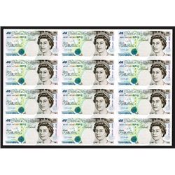 Bank of England 1997, £5 Commemorative Uncut Sheet of 12 Notes Celebrating the Return of Hong Kong t
