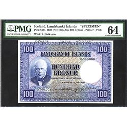 Landsbanki Islands, 1928 (ND 1945-1956), Specimen Banknote