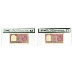 Reserve Bank of India, ND (1943), Issued George VI Uncirculated Pair