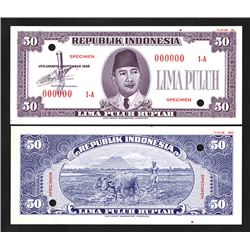 Republik Indonesia, 1948 Front and Back Specimen Essay Banknote.