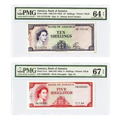 Bank of Jamaica, 1960 (ND 1964), Pair of Uncirculated Banknotes