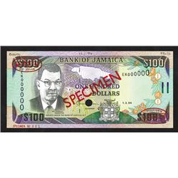 Bank of Jamaica, 1994 Specimen No. 001 Note