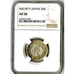 Japan, Empire, 1871, Almost Uncirculated Silver 20 Sen