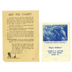 Korean War Propaganda Leaflets Addressing Negro Soldiers, ca. 1950s