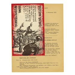 "Korean War Propaganda Leaflet, 1953, w/ Report, ""Civilians Murdered"""