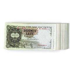 Latvian Government State Treasury Note, 1939, Uncirculated Partial Pack of 68 Notes