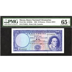 Banco Nacional Ultramarino, 1963, Issued Gem Uncirculated Note