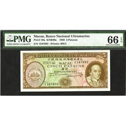 Banco Nacional Ultramarino, 1968, Issued Gem Uncirculated Note
