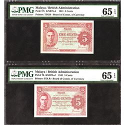 Malaya / British Administration, 1941 High Grade Banknote Pair.