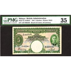 Board of Commissioners of Currency, Malaya, 1941 Issue.