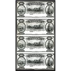 Banco Mercantil de Veracruz, ND (1898), Uncut Uniface Proof Sheet of 4