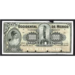 Banco Occidental de Mexico, ND (ca. 1900), Uniface Proof