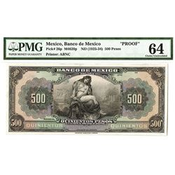 Banco de Mexico, ND (1925-1934), Proof Banknote