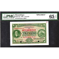 Banco National Ultramarino, Mocambique. 1941 Issue Specimen.