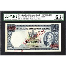 Reserve Bank of New Zealand. Ca.1953-58, 5 Pounds. Specimen.