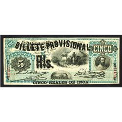 Billete Provisional, 1881 Issue Banknote.