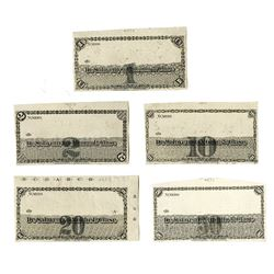 Peru, ND, Set of 5 Progress Proof Scrip Notes, ca.1860's by National Bank Note Co.