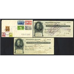 Treasurer of the Philippine Islands, 1909-1910 Check Pair.