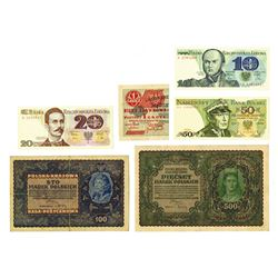 Polish State Loan Bank and National Bank, 1919-1982, Lot of 6 Notes