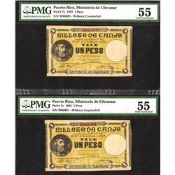 Ministerio de Ultramar, 1895 Sequential Banknote Pair.