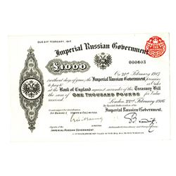 Imperial Russian Government, 1916 (Due Feb. 1917) Treasury Bill.