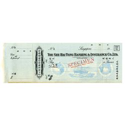 Sze Hai Tong Banking & Insurance Co. Ltd., ca.1920s-1930s, Specimen Draft/Check