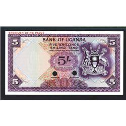 Bank of Uganda, ND (1966) Color Trial Specimen.