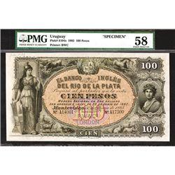 Banco Ingles del Rio de la Plata, 1885, Very Rare Specimen High Denomination Note