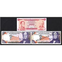 Banco Central de Venezuela, 1960s-1990s, Trio of Specimen Notes