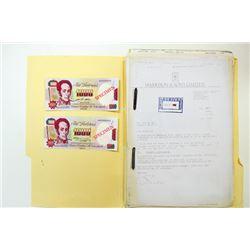 Banco Central de Venezuela, 1991-1992, Printer's Production File for 1000 Bolivares