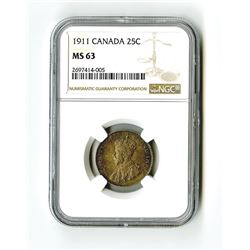 Canada 25 Cents, 1911, KM-18, NGC MS 63