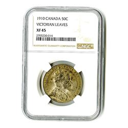 Canada 50 Cents, 1910, Victorian Leaves, KM-12, NGC XF 45