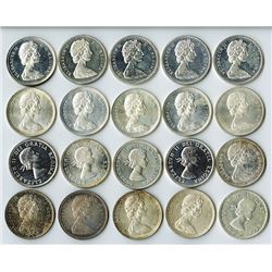 Canadian Silver Dollars 1964-1966 Roll of 20 pieces