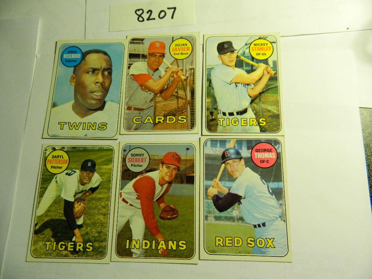 Six 6 1969 Topps Baseball Cards All One Money