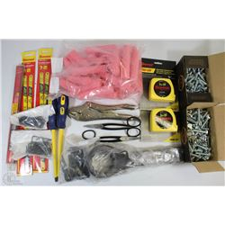 FLAT OF NEW ASSORTED TOOLS INCLUDING, WRENCH SLUG,