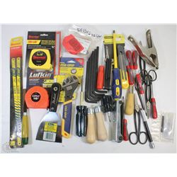 FLAT OF NEW TOOLS INCLUDING, TAPE MEASURES,