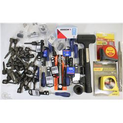 FLAT OF NEW ASSORTED TOOLS INCLUDING, TAPE