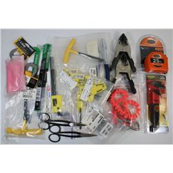 FLAT OF NEW TOOLS INCLUDING, TAPE MEASURES, ALLAN