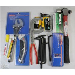 FLAT OF NEW TOOLS INCLUDING BALL PEIN 24OZ HAMMER,