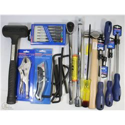 "FLAT OF NEW TOOLS INCLUDING 1/2"" DRIVE RATCHET,"