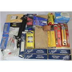 FLAT OF NEW TOOLS INCLUDING UTILITY BLADES,