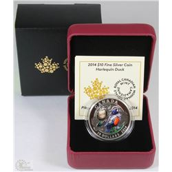 43) RCM 2014 $10 FINE SILVER COIN-HARLEQUIN DUCK