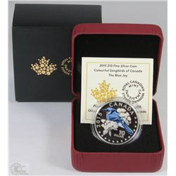 46) RCM 2015 $10 FINE SILVER COIN-THE BLUE JAY