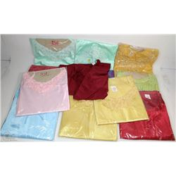 LOT OF 12 SILKY NIGHT GOWNS