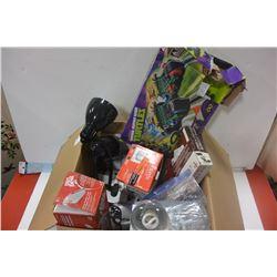 LARGE BOX OF HOUSEHOLD ELECTRONICS ETC