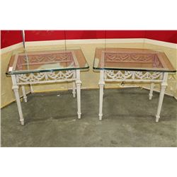 2 GLASS TOP IRON END TABLES